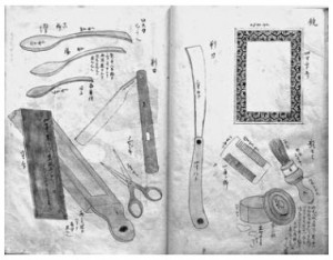 重吉の持ち帰った器物を寛親が描いた図 (下巻三六)